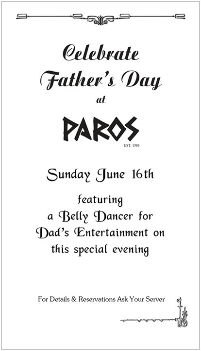 Fathers day is this Sunday.  Guarantee your table by calling us at 604 444 4788