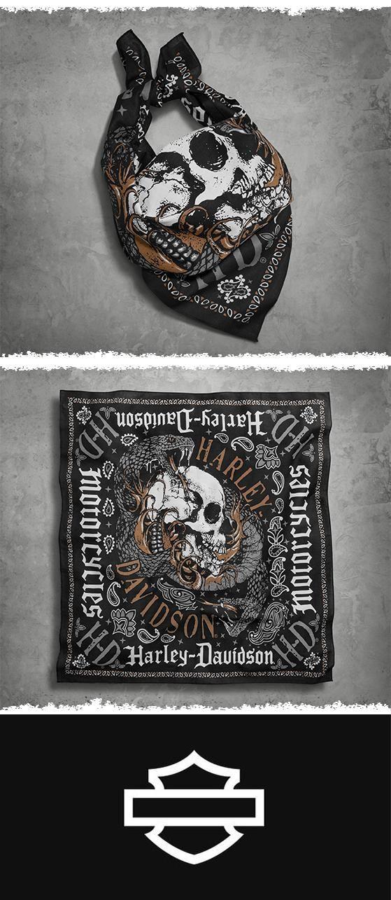 A not-so-subtle mash-up of skull and snake graphics takes over this men's biker bandana.   Harley-Davidson Men's Snake & Skull Bandana