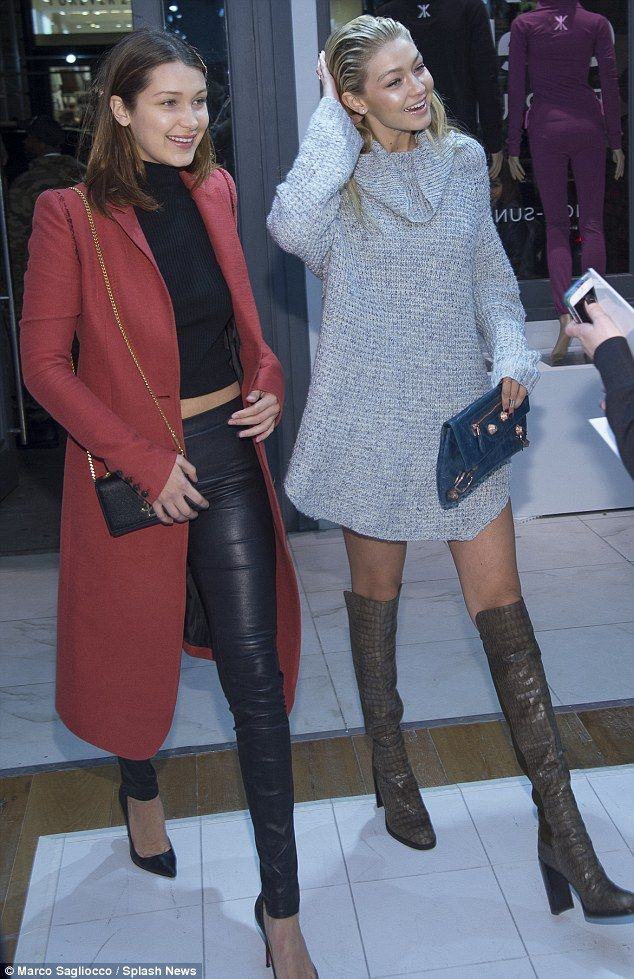 Stylish: Bella looked sophisticated in black leather leggings, a black cropped top and bur...