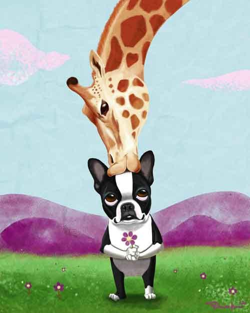 Boston Terrier and Giraffe Dog Art Print by rubenacker on Etsy, $18.00