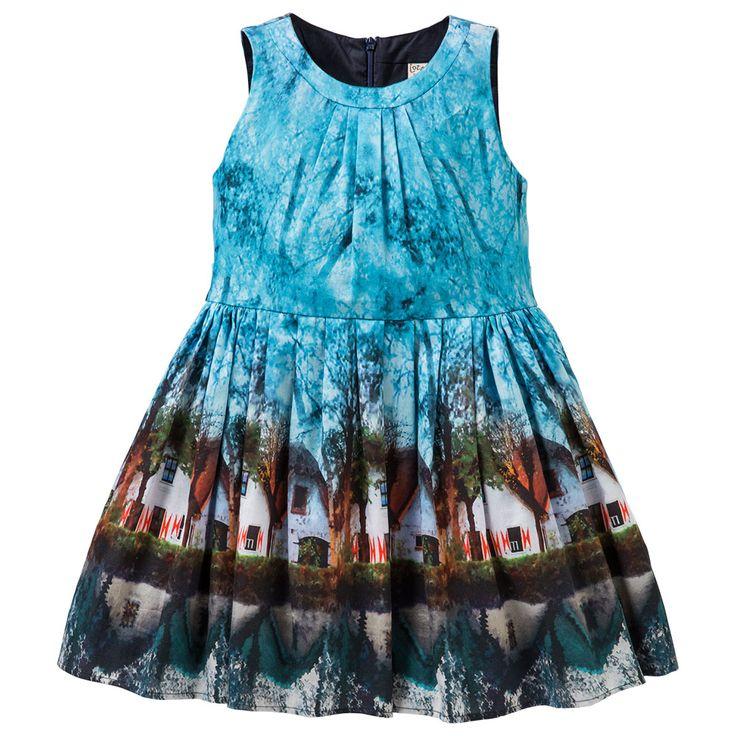 Prachtige jurk van Jottum met een 'aquarel' print in meerdere natuurlijke kleuren.