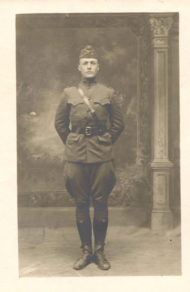 "This is a photographic postcard of Robert C. ""Bob"" Hoffman in his World War I…"