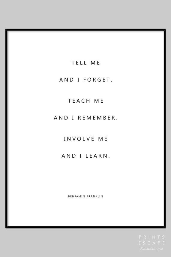 Benjamin Franklin Inspirational Quote Print Modern Typography