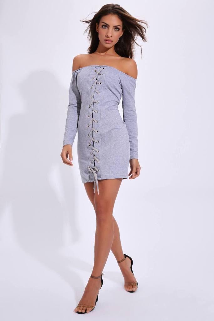 c2e44e36825 Grey Bardot Style Eyelet Front Jumper Dress