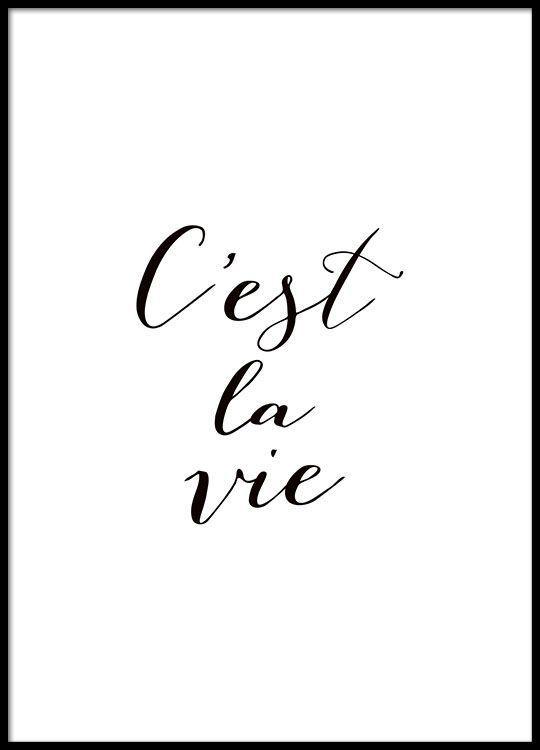 Plakat mit französischem Text, quote in Schwarz-Weiß. – die kleine Designerei