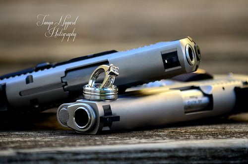 """guns and rings"" by my best friend @Tanya Nygard  She'll definitely be taking my engagement and wedding pictures"