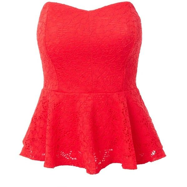 LE3NO Womens Stretchy Strapless Lace Peplum Cropped Top ($17) ❤ liked on Polyvore featuring tops, peplum tops, lace crop top, red top, cut-out crop tops and red peplum top