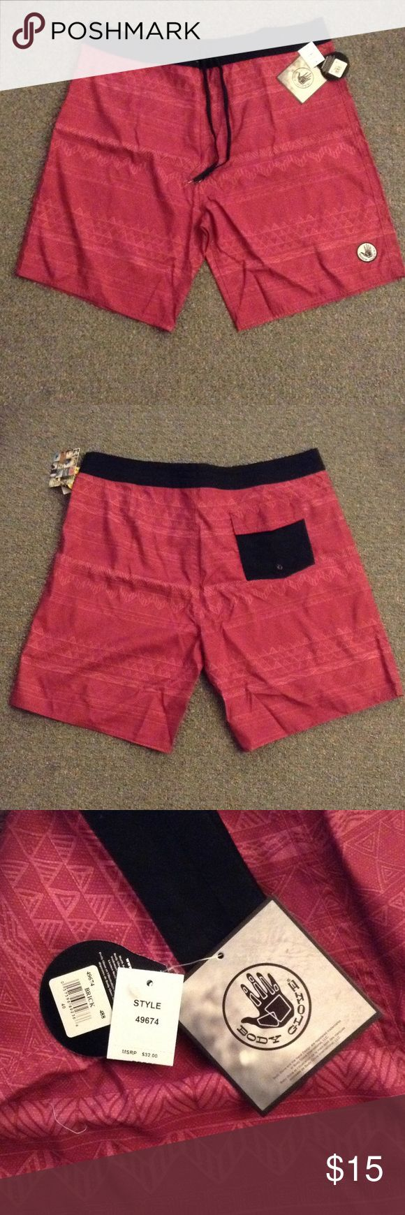 Men's Swimsuit Shorts NWT Brick red men's swimming shorts. Black waistband secured with Velcro and double ties. New with tags. Single back Velcro pocket. Size 40. 100% polyester. Body Glove Swim Board Shorts