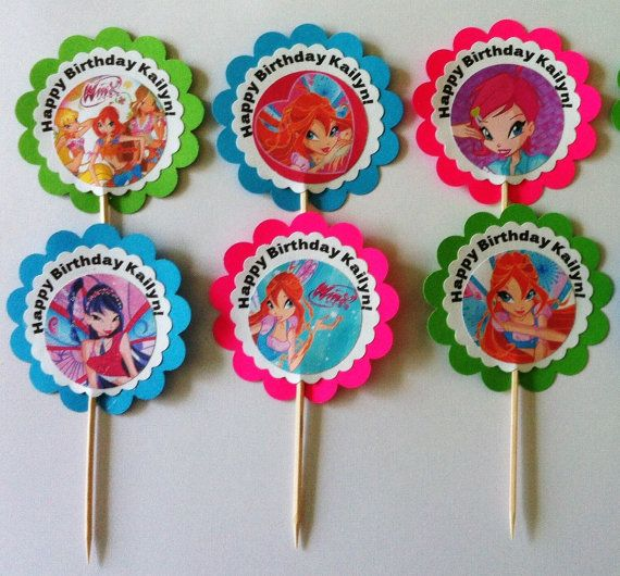 12 Winx Club pixie fairies favor /party tags OR cupcake toppers