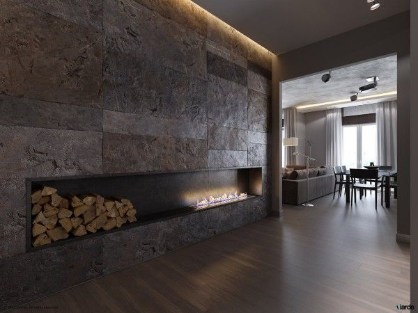 The element of fire ties together multiple spaces in this apartment, with the final focal point being this ultra-modern fireplace. Flames rise directly out of the recessed nook for a beautiful but also slightly dangerous finishing touch.