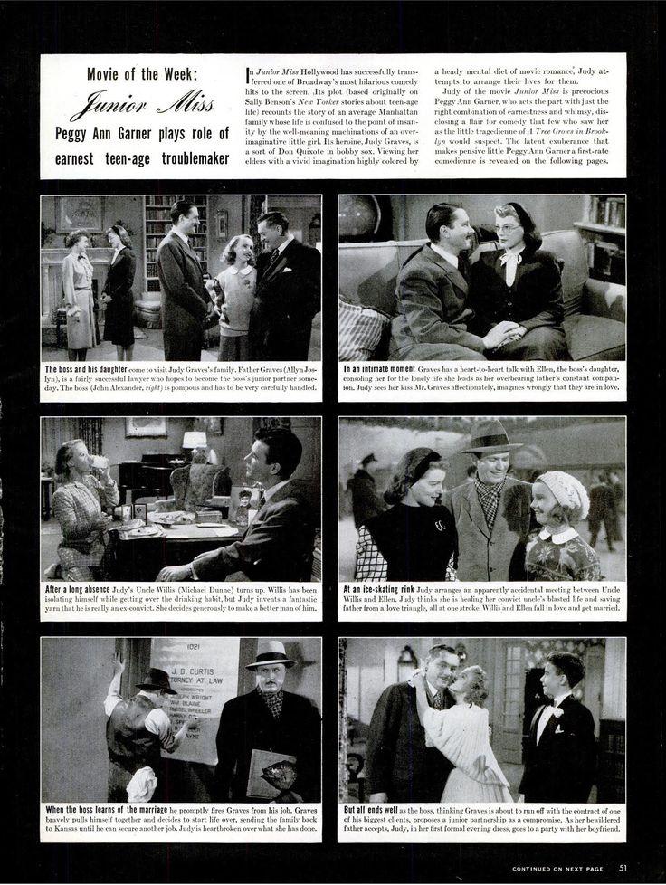Movie of the week: Junior Miss(1945), Peggy Ann Garner. ※7/23/1945,LIFE #movies