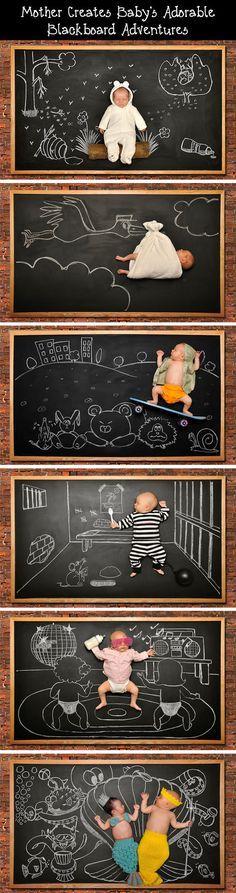 Les aventures d'un bébé sur un tableau noir