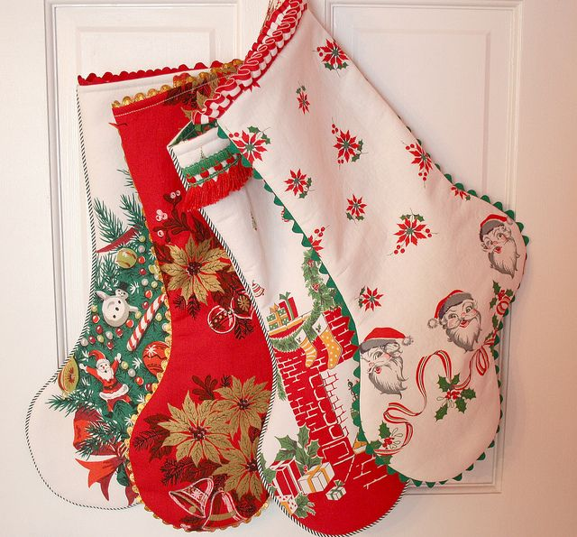 Xmas Table Linen Part - 41: Vintage Christmas Fabric Stockings - Could Use Old Christmas Table Cloths  That I Have.