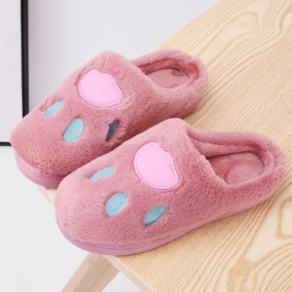 fcd356a29ce134 Winter Slippers Women Home Plush Cute Animal Paw Floor Slipper Korean Style  Womens Warm Comfortable Non
