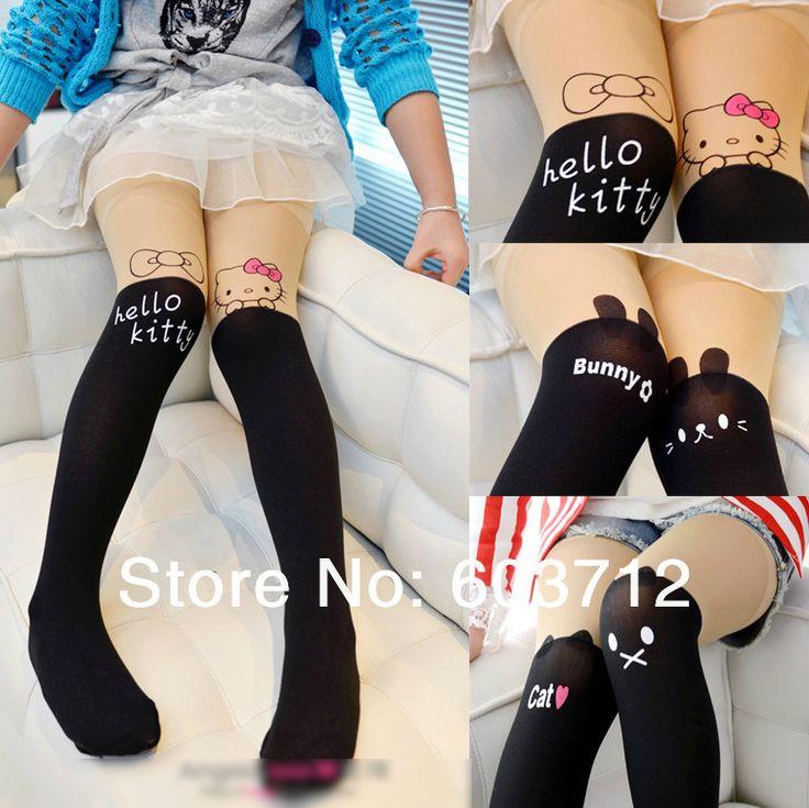 4 стили детские дети девушки Harajuku трусики hosePersonality шить колено нейлон татуировки колготки колготки US $5.55