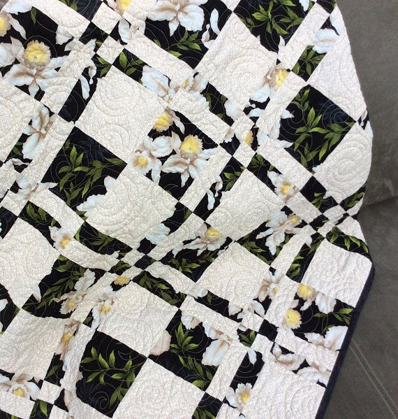 SALE Yellow Black and Gray Lap or Baby Quilt