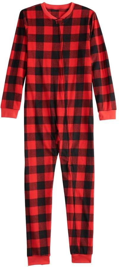 Kids 4-20 Jammies For Your Families Thanksgiving Buffalo Checkered  Microfleece One-Piece Pajamas  christmaspjs  kidsclothes  christmas  plaid f9f5c7aba