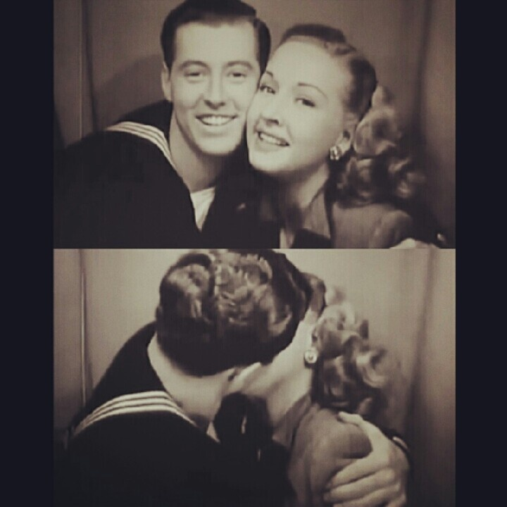 Photo booth kiss from 'Breakfast in Hollywood' 1940s