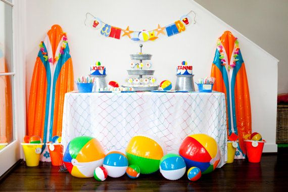 Beach Birthday Party Banner- Beach Party Banner- Beach Ball Party Banner- Boy's Birthday Party- Summer Birthday Party Banner