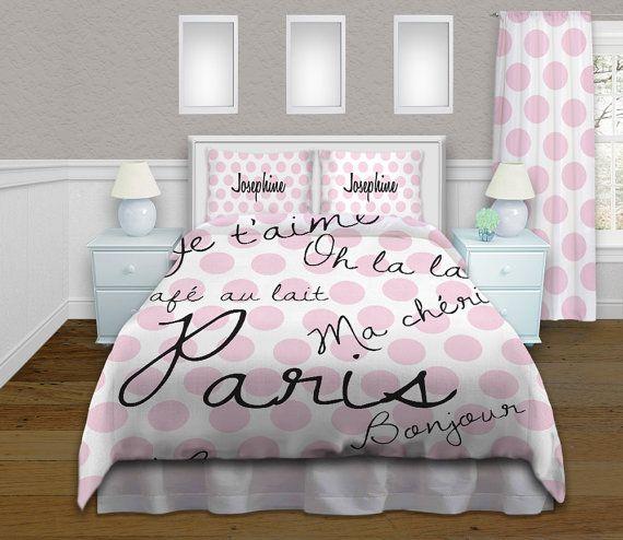 Pink bedding paris theme bedding paris duvet cover for Housse de couette paris tour eiffel