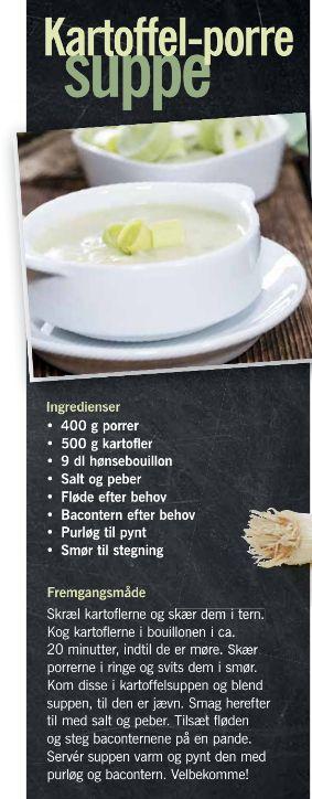 Kartoffel-porre suppe fra Lidl. Kan evt. serveres med brød og bacon.