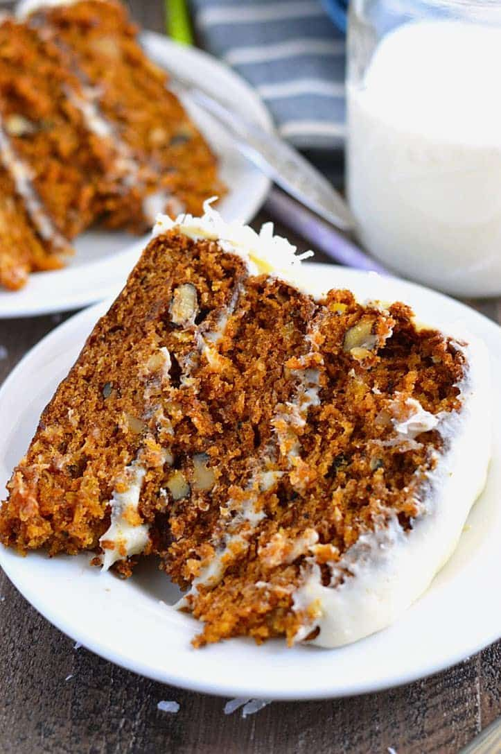 This Gluten Free Carrot Cake is a the same classic cake you remember, just without gluten and dairy. It's full of carrot, coconut, walnuts, and pineapple which means it's packed with flavor. Serve it for Easter and your guests won't be disappointed. Carrot Cake has always been one of my favorite cakes and this gluten...