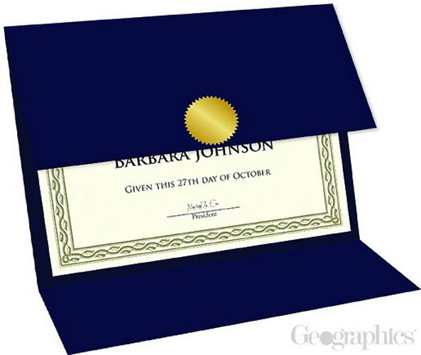 "5 sheets of Navy Blue Certificate Holders Tri-Fold, 9.25""x12.5"", 218 gsm, 80 lb navy blue linen textured cover stock, die-cut foil-stamped and embossed, medallion gold foil-stamped one side."