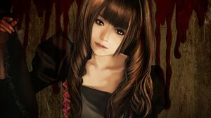 Preview wallpaper girl, dress, hair, blood 1366x768