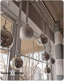 Christmas ball window decoration: saw it in bright colors, but like the silver
