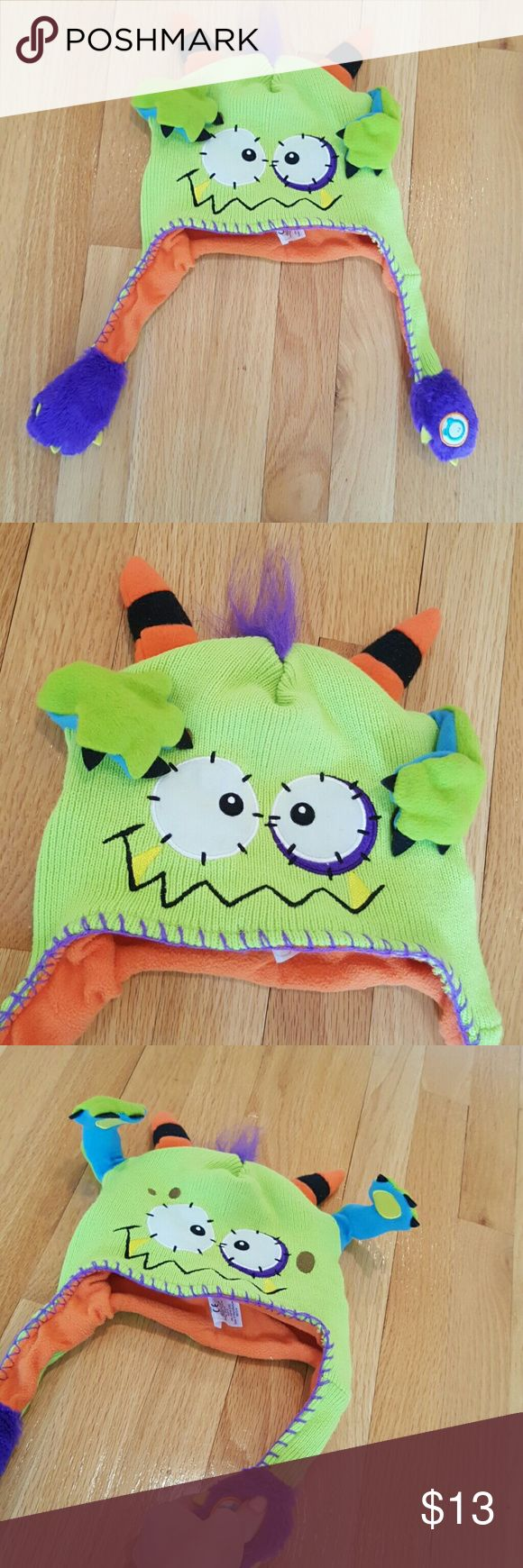Kids monster hat 🌸So fun and cute! When you press one tassle the ears pop up! flipeez Accessories Hats