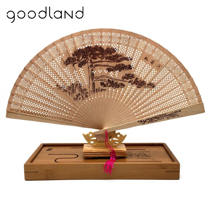Free Shipping 5pcs/Lot The High-end Gift Fan Fan Sandalwood Incense with Imitation Yacca Hollow Printing with Fan Box #Affiliate