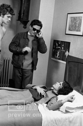 Pier Paolo Pasolini and Silvana Mangano on the set of 'Theorem' (1968)