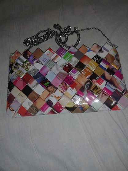 Candy wrapper bag. Details here: https://www.facebook.com/handmadeclao