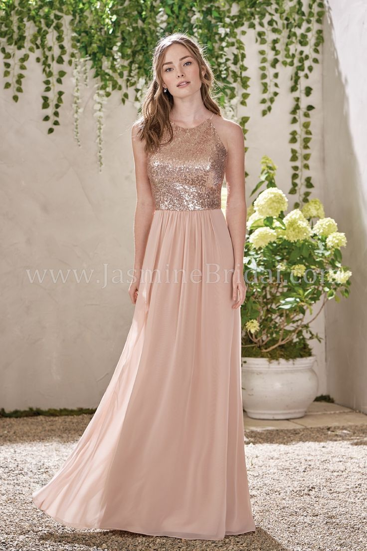 Jasmine Bridal - B2 Style B193007 in Sequin II/Poly Chiffon, color Rose Gold/Peach