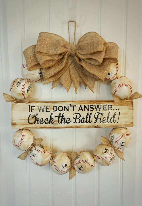 Check out this item in my Etsy shop https://www.etsy.com/listing/288648845/baseball-wreath-with-burlap-bow-made