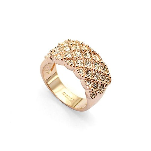 Fully Jewelled Gold Ring. 18K Gold plated ring with clear swarovski crystals.