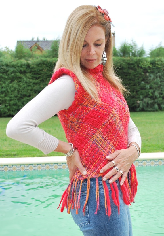 New Hand Woven Shocking red Gipsy  Top Vest Sweater by Cozyyarn, $78.00