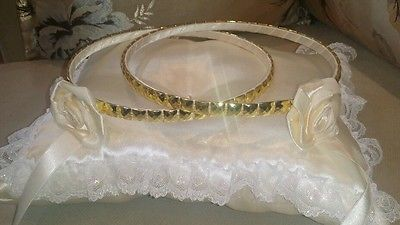 PAIR OF GREEK STEFANA + PILLOW + BOX  SET OF HANDMADE GREEK WEDDING CROWN
