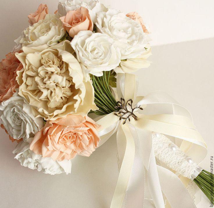 Купить букет невесты ПОЦЕЛУЙ НЕЖНОСТИ - белый, айвори, персиковый, букет невесты, Букет свадебный