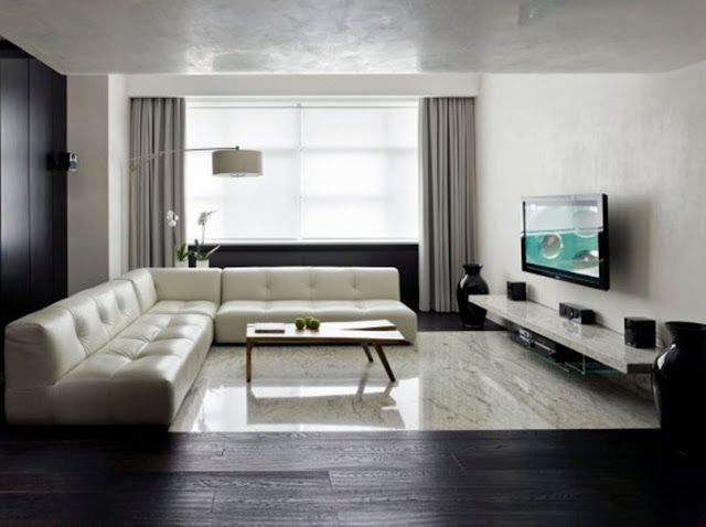 Living room 4 awesome way to decorate around your flat screen television minimalist living room design ideas with white leather couch wooden coffee table