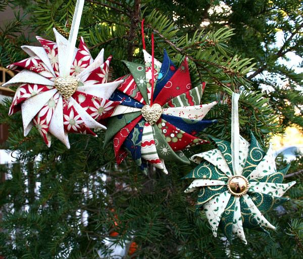 Three Prairie Point Star Ornaments---so easy to make from some scrap squares of fabric.