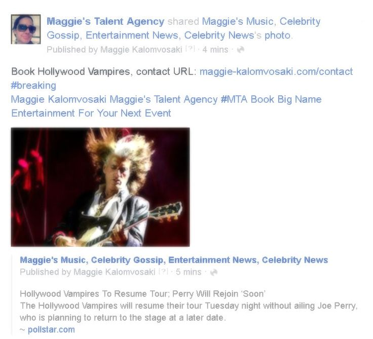 Book Hollywood Vampires contact URL: http://ift.tt/1PPE050 #breaking Maggie Kalomvosaki Maggie's Talent Agency #MTA Book Big Name Entertainment For Your Next Event  http://ift.tt/29Wysd8  Maggie's Music Celebrity Gossip Entertainment News Celebrity News Published by Maggie Kalomvosaki  18 mins   Hollywood Vampires To Resume Tour; Perry Will Rejoin Soon The Hollywood Vampires will resume their tour Tuesday night without ailing Joe Perry who is planning to return to the stage at a later date…
