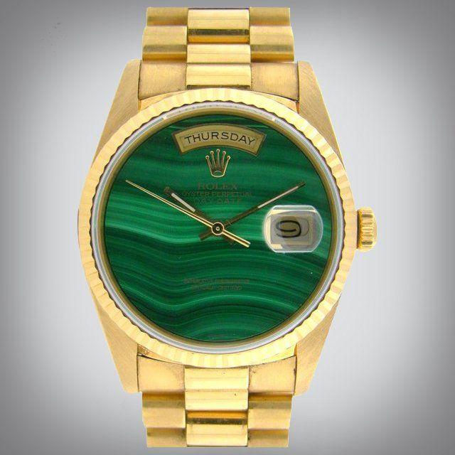 Fancy - Rolex Vintage Day-Date Rare Malachite DialRolex Watches, Rolex Vintage, Vintage Daydate, Daydate Rare, Malachite Rolex, Vintage Wardrobe, Wrist Watches, Vintage Malachite, Breitling Watches