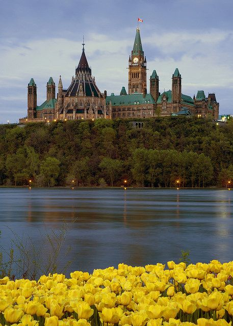 The parliment buildings in Ottawa, Canada.