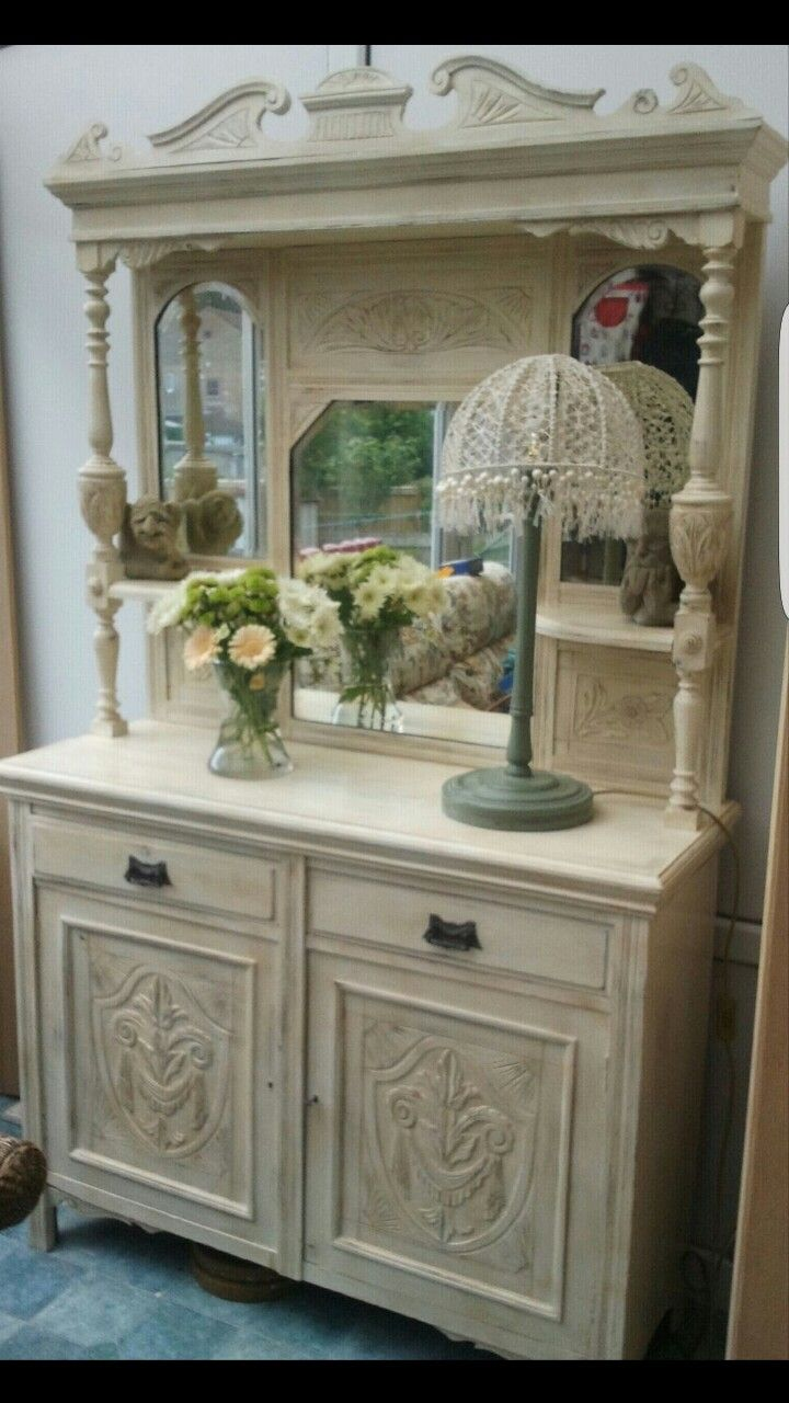 Chalk paint and waxed dresser with handpainted lampstand