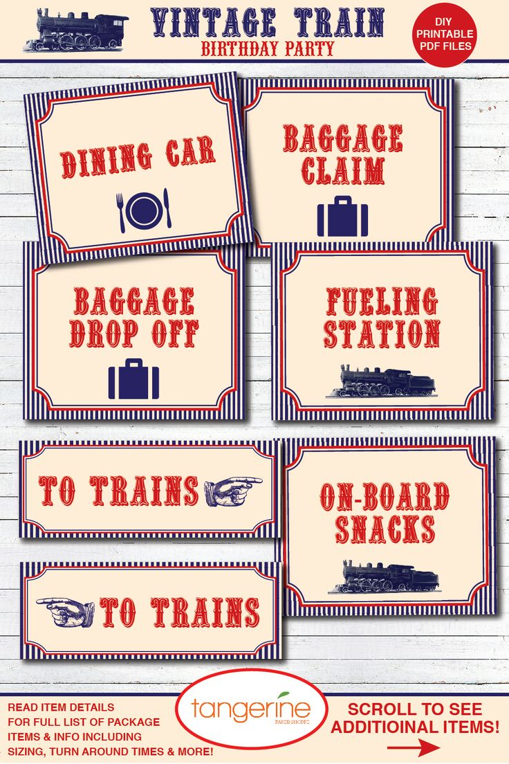 Train birthday decorations, Train party ideas, Train signs, Train printable PDF files, Train party decorations, Vintage Train party ideas