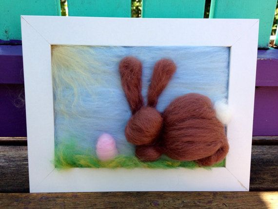 Easter Bunny Needle Felted Painting by WoolyRooDolls on Etsy, $45.00