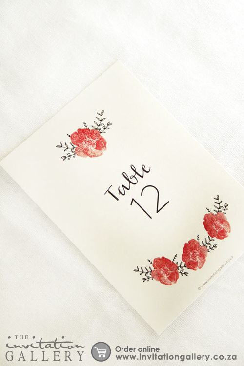 Watercolor poppies table number card • Colours and text are customisable • Order at: http://www.invitationgallery.co.za/wedding-invitations-and-stationery/details/MPC001-026