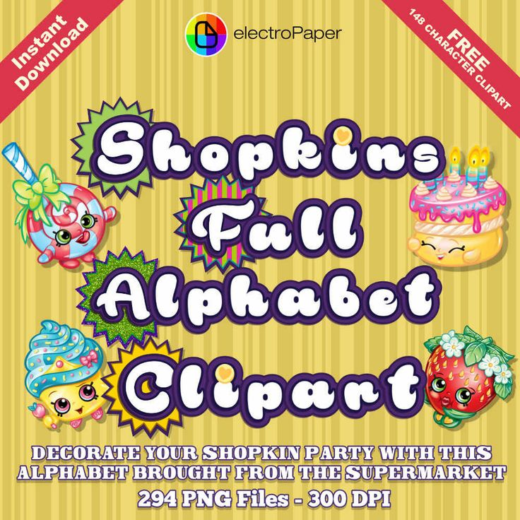 SHOPKINS - Full Alphabet Clipart + FREE 148 Character Clipart - 294 png files 300 DPI - For Cardmaking, Scrapbooking and More by ElectroPaper on Etsy https://www.etsy.com/listing/265915800/shopkins-full-alphabet-clipart-free-148