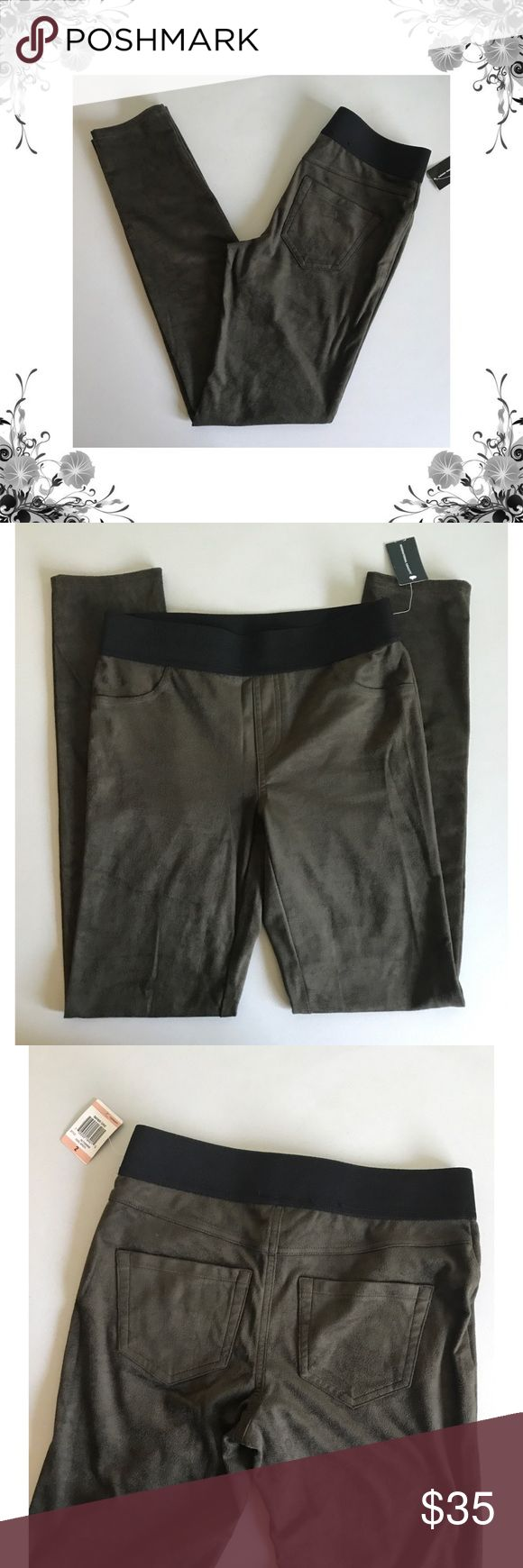 """{INC} Olive Green Faux Suede Pull-On Pants Waist across measures approx 13.5"""". Rise is approx 9"""". Inseam is approx 30"""". Polyester/Spandex. Fabric provides stretch. Faux suede fabric. Waistband is elasticized. Skinny leg. Regular fit. Price tag has been cut but is still intact. Bundle for discounts! Thank you for shopping my closet! Bin 73 INC International Concepts Pants Leggings"""